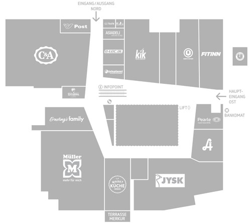 Lageplan des Einkaufszentrum West